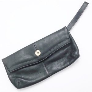 Ted Baker Black Foldover Leather Clutch Wristlet